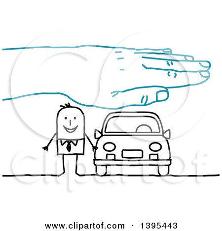 Clipart of a Sketched Blue Hand over a Stick Business Man and Car - Royalty Free Vector Illustration by NL shop