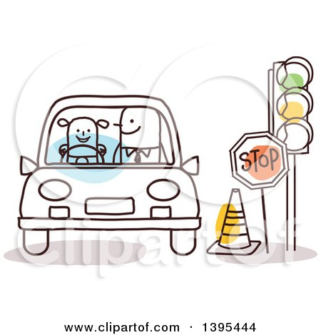 Clipart of a Sketched Stick Man Teaching a Child How to Drive - Royalty Free Vector Illustration by NL shop