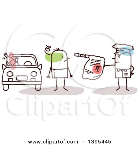 Clipart of a Sketched Stick Man Police Officer Giving a Drunk Driver a Breathalyzer Test - Royalty Free Vector Illustration by NL shop