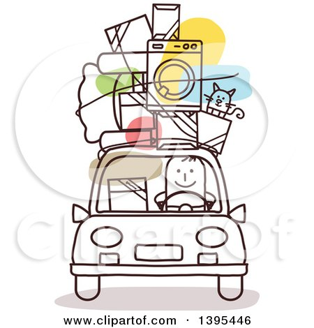 Clipart of a Sketched Stick Man Moving, with Items on the Roof of a Car - Royalty Free Vector Illustration by NL shop