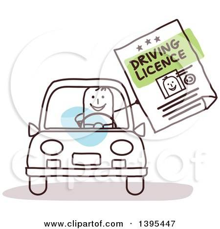 Clipart of a Sketched Stick Man Driving and Holding out a License - Royalty Free Vector Illustration by NL shop