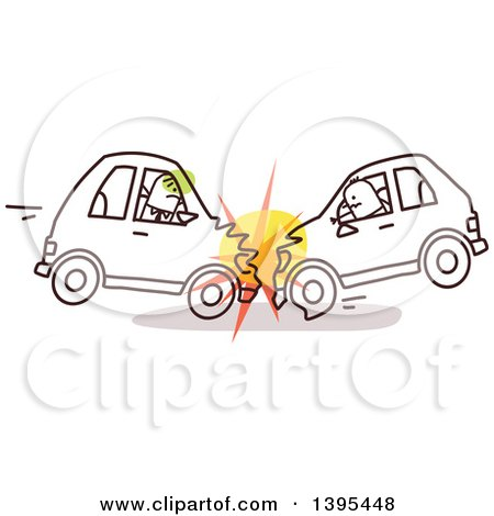 Clipart of Sketched Stick Drivers Crashing Cars into Each Other - Royalty Free Vector Illustration by NL shop