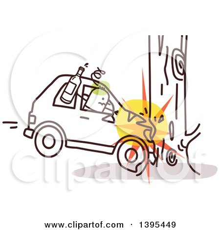 Clipart of a Sketched Drunk Stick Man Crashing a Car into a Tree - Royalty Free Vector Illustration by NL shop