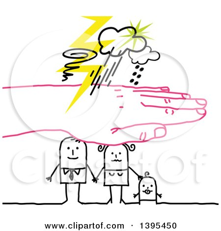 Clipart of a Pink Hand Protecting a Sketched Stick Family from a Storm - Royalty Free Vector Illustration by NL shop