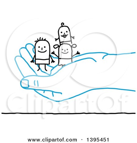 Clipart of a Sketched Blue Hand Holding a Stick Man and Family - Royalty Free Vector Illustration by NL shop