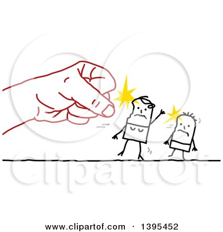 Clipart of a Sketched Red Hand Punching a Stick Mother and Child - Royalty Free Vector Illustration by NL shop