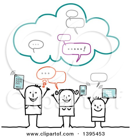 Clipart of a Sketched Stick Family Using Gadgets on the Cloud - Royalty Free Vector Illustration by NL shop