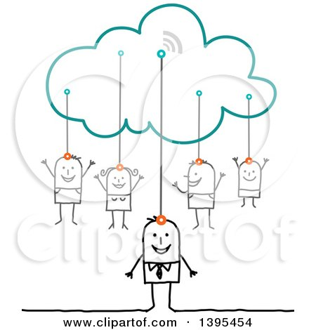 Clipart of a Sketched Stick Business Man and Family Connected to the Cloud - Royalty Free Vector Illustration by NL shop