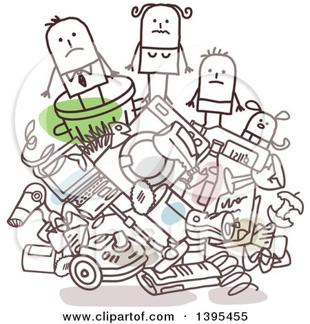 Clipart of a Sketched Stick Business Man and Family on a Pile of Trash - Royalty Free Vector Illustration by NL shop