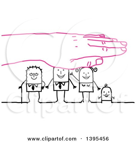 Clipart of a Pink Hand Protecting a Sketched Stick Business Man, Wife, Baby and Senior Man - Royalty Free Vector Illustration by NL shop
