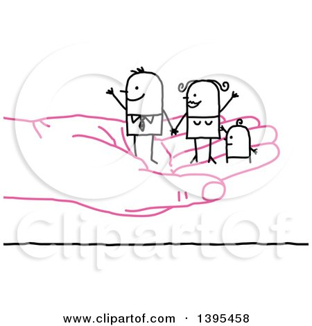 Clipart of a Sketched Stick Business Man and Family on a Pink Hand - Royalty Free Vector Illustration by NL shop