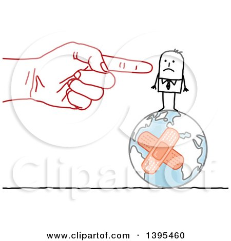 Clipart of a Sketched Red Hand Blaming and Pointing to a Stick Business Man on a Bandaged Earth - Royalty Free Vector Illustration by NL shop
