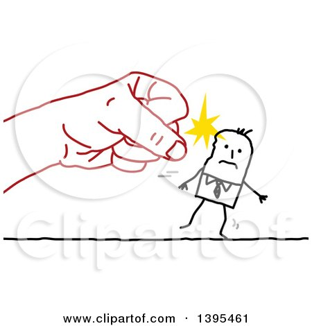 Clipart of a Sketched Red Fist Punching a Stick Business Man - Royalty Free Vector Illustration by NL shop