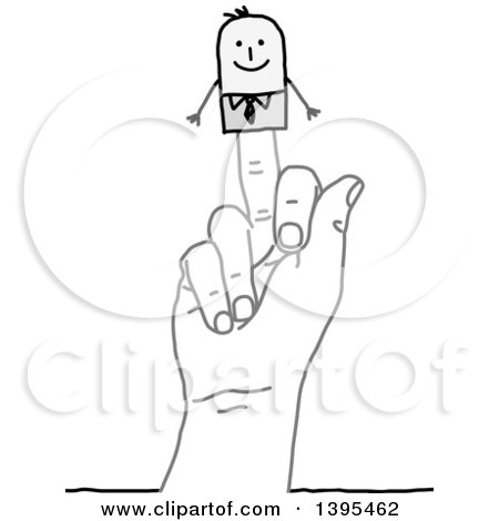 Clipart of a Sketched Hand with a Stick Business Man Puppet on the Middle Finger - Royalty Free Vector Illustration by NL shop