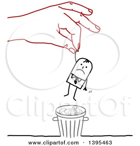 Clipart of a Sketched Red Hand Rescuing a Stick Business Man from the Trash - Royalty Free Vector Illustration by NL shop
