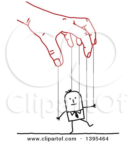 Clipart of a Sketched Red Hand Controlling a Stick Business Man like a Puppet on Strings - Royalty Free Vector Illustration by NL shop