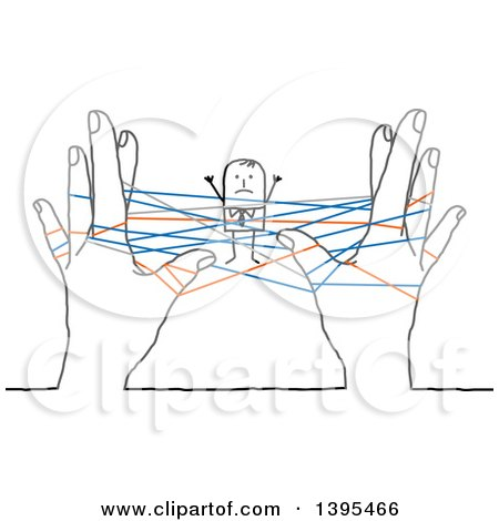 Clipart of a Sketched Stick Business Man Stuck in Networking Strings Connected Between Hands - Royalty Free Vector Illustration by NL shop
