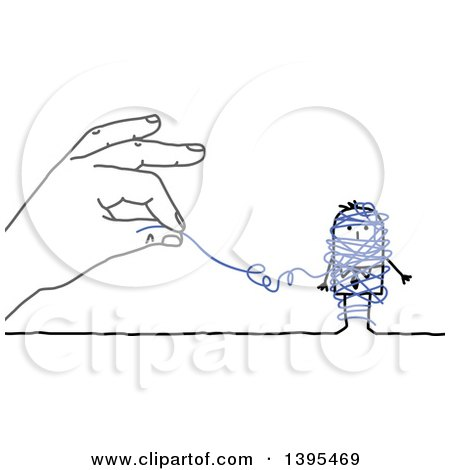 Clipart of a Sketched Blue Hand Unraveling String Around a Stick Business Man - Royalty Free Vector Illustration by NL shop