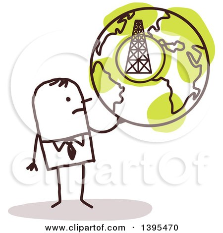 Clipart of a Sketched Stick Business Man Holding a Globe with a Tower - Royalty Free Vector Illustration by NL shop