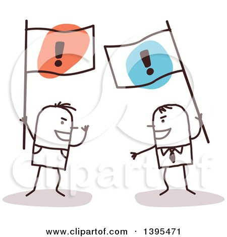 Clipart of Sketched Stick Men Arguing and Holding Opposing Flags - Royalty Free Vector Illustration by NL shop