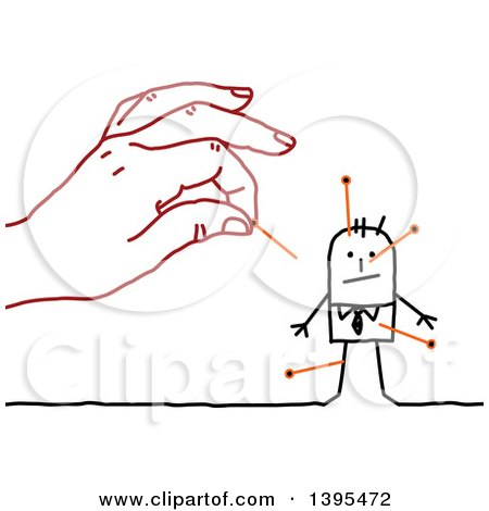 Clipart of a Sketched Red Hand Inserting Needles in a Stick Business Man - Royalty Free Vector Illustration by NL shop