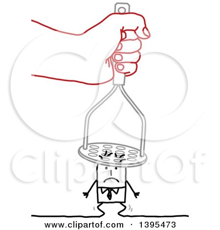 Clipart of a Sketched Red Hand Squishing a Stick Business Man with a Masher - Royalty Free Vector Illustration by NL shop