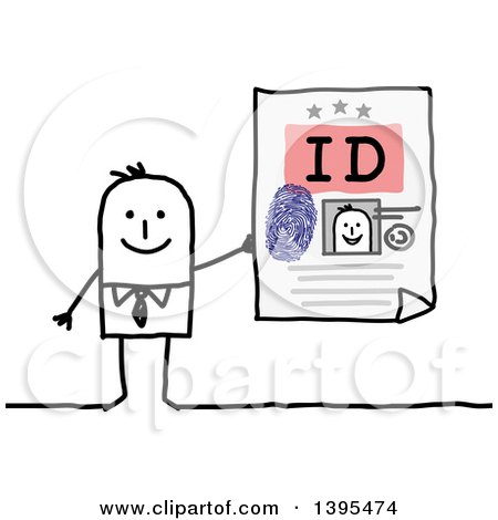 Clipart of a Sketched Stick Business Man Holding an Id - Royalty Free Vector Illustration by NL shop