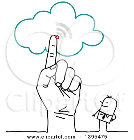 Clipart of a Sketched Hand Pointing to the Cloud by a Stick Business Man - Royalty Free Vector Illustration by NL shop