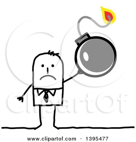 Clipart of a Sketched Stick Business Man Holding a Bomb - Royalty Free Vector Illustration by NL shop