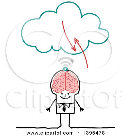 Clipart of a Sketched Stick Business Man with a Big Brain Connecting to the Cloud - Royalty Free Vector Illustration by NL shop