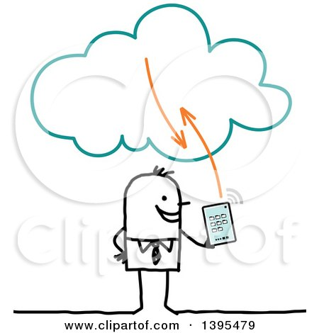 Clipart of a Sketched Stick Business Man Using a Tablet on the Cloud - Royalty Free Vector Illustration by NL shop