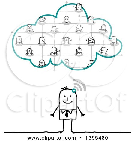 Clipart of a Sketched Stick Business Man Connected and Socializing on the Cloud - Royalty Free Vector Illustration by NL shop