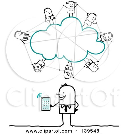 Clipart of a Sketched Stick Business Man Social Networking on the Cloud with a Tablet Computer - Royalty Free Vector Illustration by NL shop