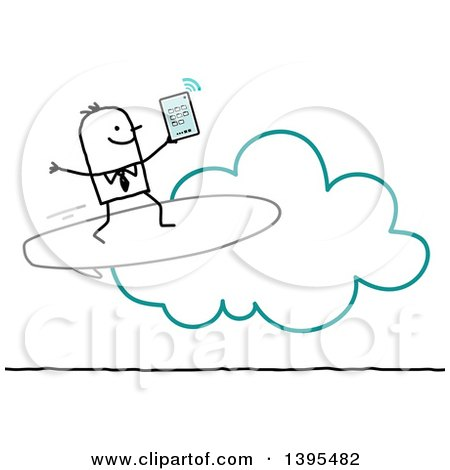 Clipart of a Sketched Stick Business Man Surfing the Cloud on a Tablet - Royalty Free Vector Illustration by NL shop