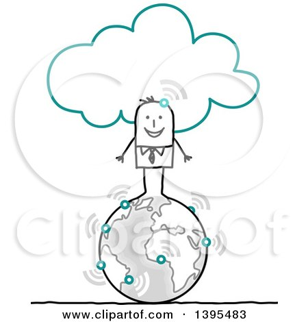 Clipart of a Sketched Stick Business Man Connected to the Cloud and Standing on Earth - Royalty Free Vector Illustration by NL shop