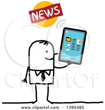 Clipart of a Sketched Stick Man Reading the News on a Tablet Computer - Royalty Free Vector Illustration by NL shop