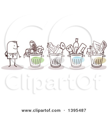 Clipart of a Sketched Stick Business Man with Organized Recycle and Trash Bins - Royalty Free Vector Illustration by NL shop