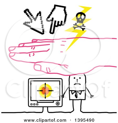 Clipart of a Sketched Pink Hand Protecting a Stick Business Man from a Cyber Attack - Royalty Free Vector Illustration by NL shop