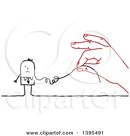 Clipart of a Sketched Red Hand Deconstructing a Stick Business Man like a String - Royalty Free Vector Illustration by NL shop