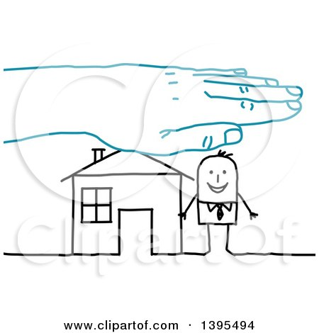 Clipart of a Blue Hand over a Sketched Stick Business Man and House - Royalty Free Vector Illustration by NL shop