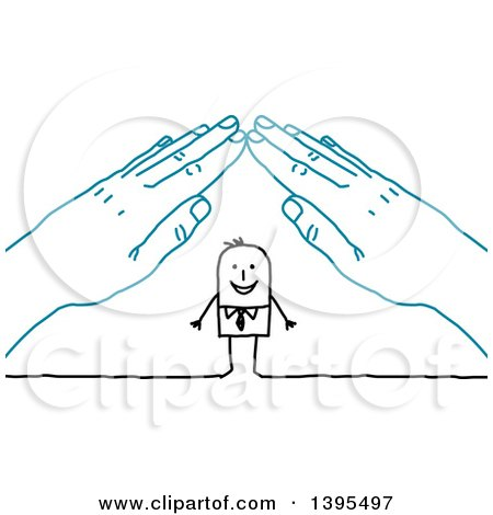 Clipart of a Sketched Stick Business Man Under a Roof of Blue Hands - Royalty Free Vector Illustration by NL shop