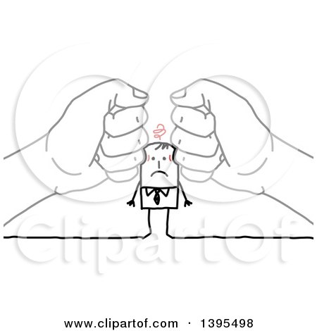Clipart of Sketched Hands Squishing a Stick Business Man - Royalty Free Vector Illustration by NL shop