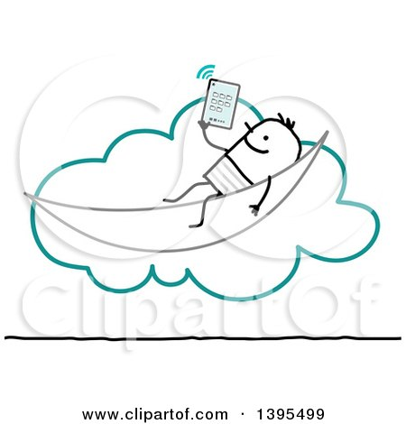 Clipart of a Sketched Stick Man Relaxing and Using a Tablet on the Cloud - Royalty Free Vector Illustration by NL shop
