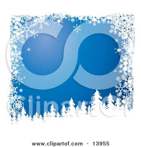 Snow Flocked Tree Silhouettes Over a Blue Wintry Background Bordered by White Snowflakes Clipart Illustration by Rasmussen Images