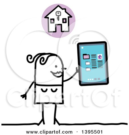 Clipart of a Sketched Stick Woman House Hunting with a Tablet Computer - Royalty Free Vector Illustration by NL shop