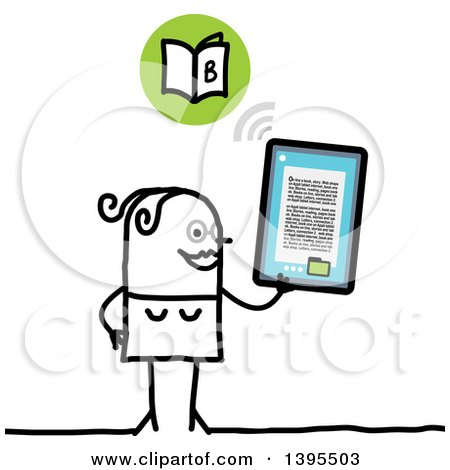 Clipart of a Sketched Stick Woman Reading an E Book on a Tablet Computer - Royalty Free Vector Illustration by NL shop