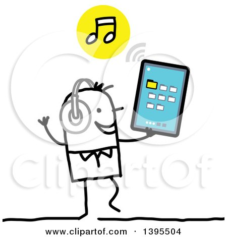 Clipart of a Sketched Stick Man Listening to Music on a Tablet Computer - Royalty Free Vector Illustration by NL shop