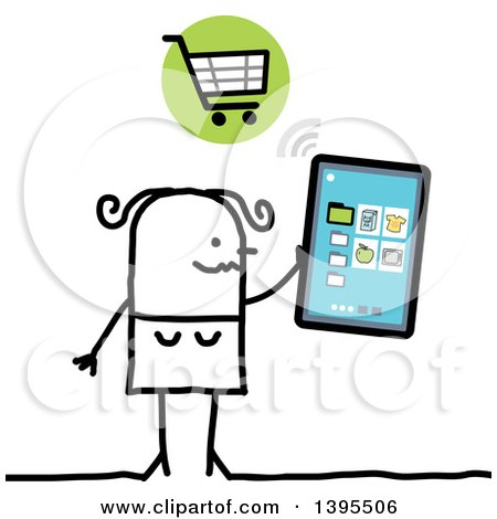Clipart of a Sketched Stick Woman Online Shopping with a Tablet Computer - Royalty Free Vector Illustration by NL shop