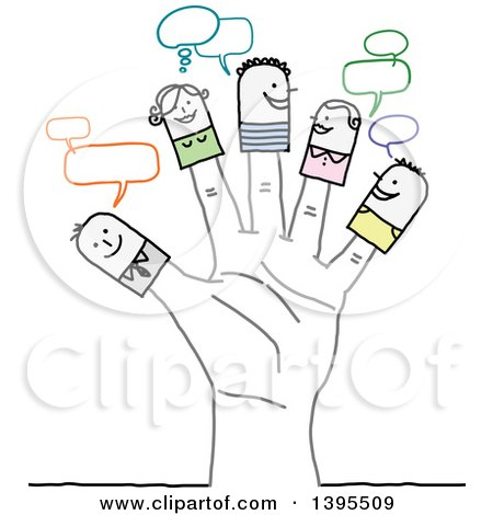 Clipart of Sketched Stick People on Fingers of a Hand - Royalty Free Vector Illustration by NL shop