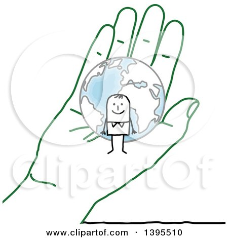 Clipart of a Sketched Stick Man and Globe in a Green Hand - Royalty Free Vector Illustration by NL shop